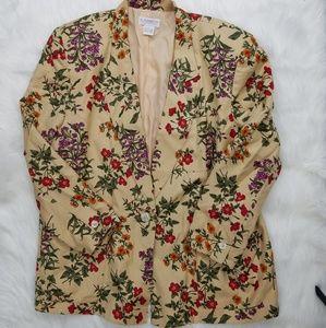 Vintage Botanical Floral Cream Plus Blazer Jacket